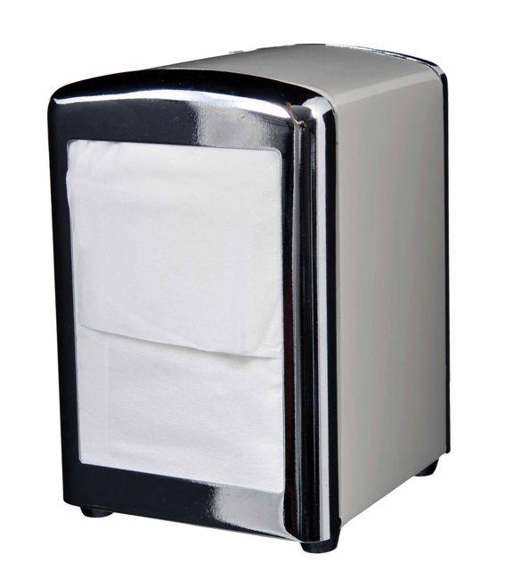 Napkin Dispenser Holder Vintage Style Tabletop Stainless Tall Fold Dinner Retro