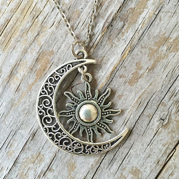 2297173deec7 Crescent Moon Necklace  Sun Necklace  Moon Sun Necklace  Sun Moon ...