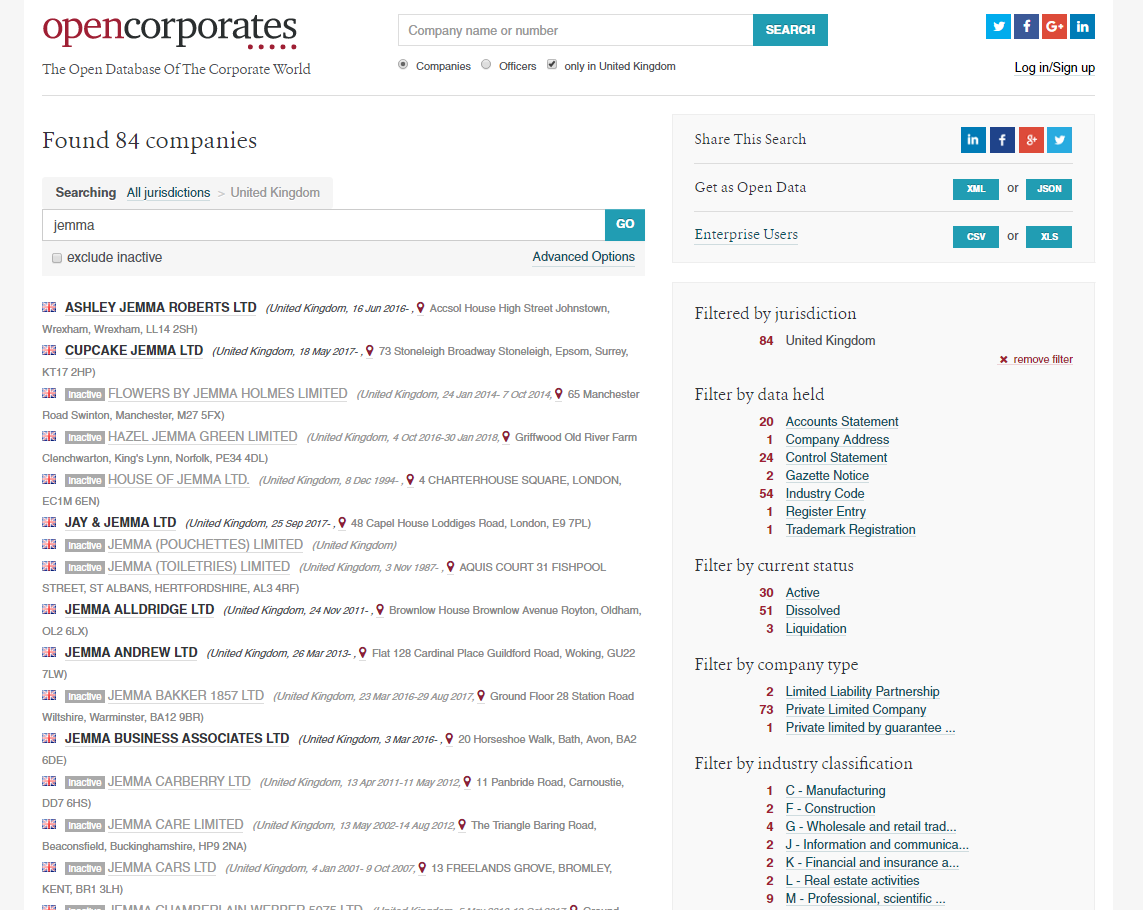 Opencorporates Data On Uk Companies Containing Keyword Jemma