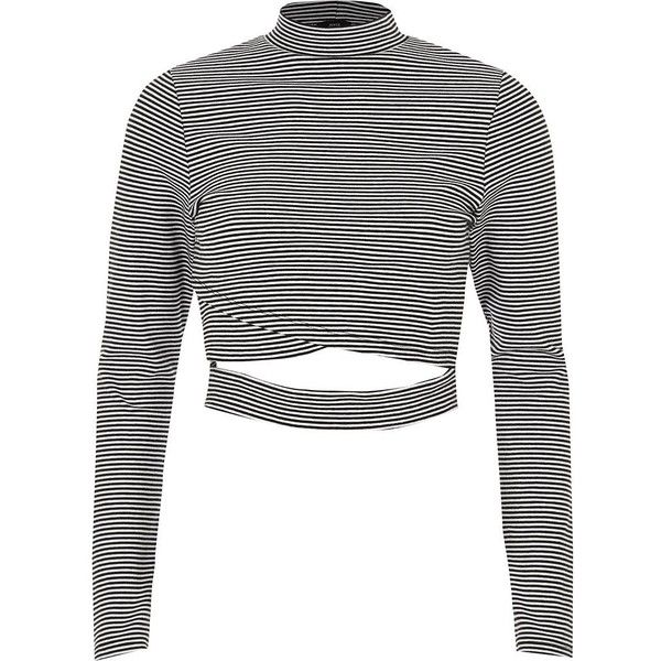 ecff8239ee6f River Island Black stripe wrap front long sleeve top ( 48) ❤ liked on  Polyvore featuring tops