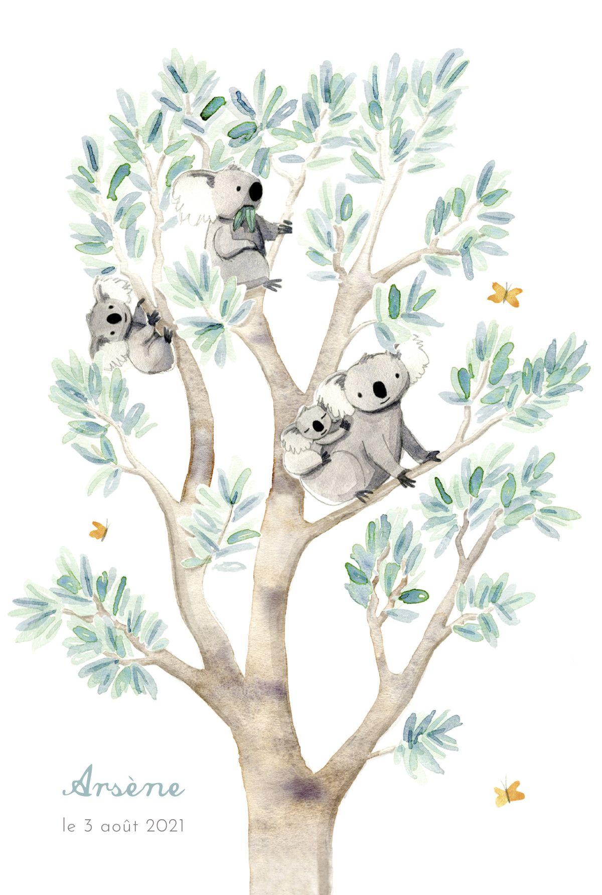 Faire Part De Naissance 4 Koalas En Famille Faire Part Naissance