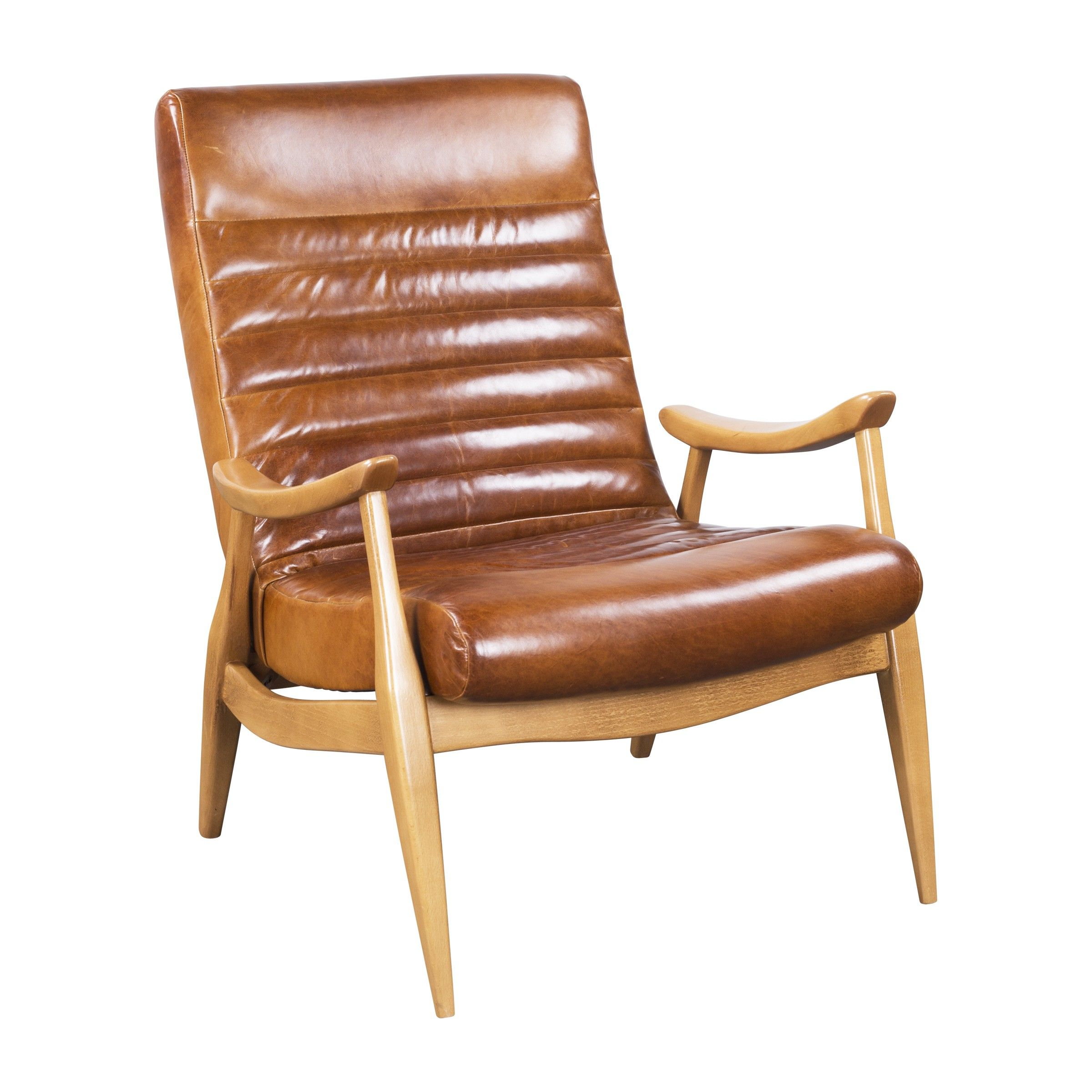 HANS CARAMEL LEATHER CHAIR by Dwell Studio
