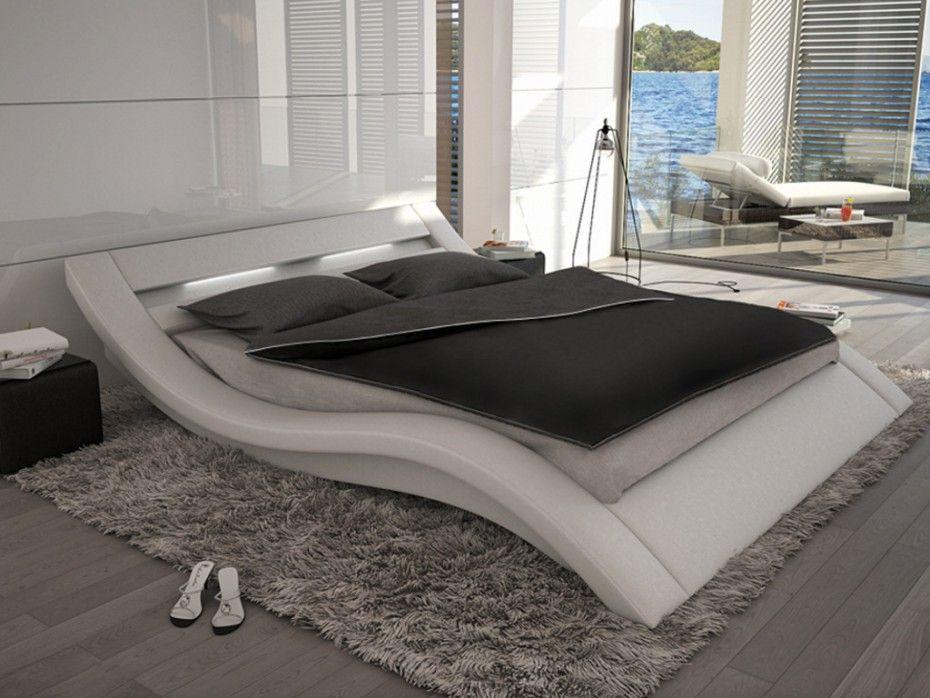 Estructura de cama ONDULIS - 160x200 cm - Piel sintética blanca con ...