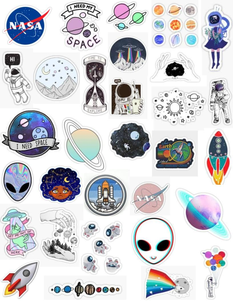graphic regarding Aesthetic Stickers Printable referred to as tumblr area sticker pack moon celebs planets solar aliens