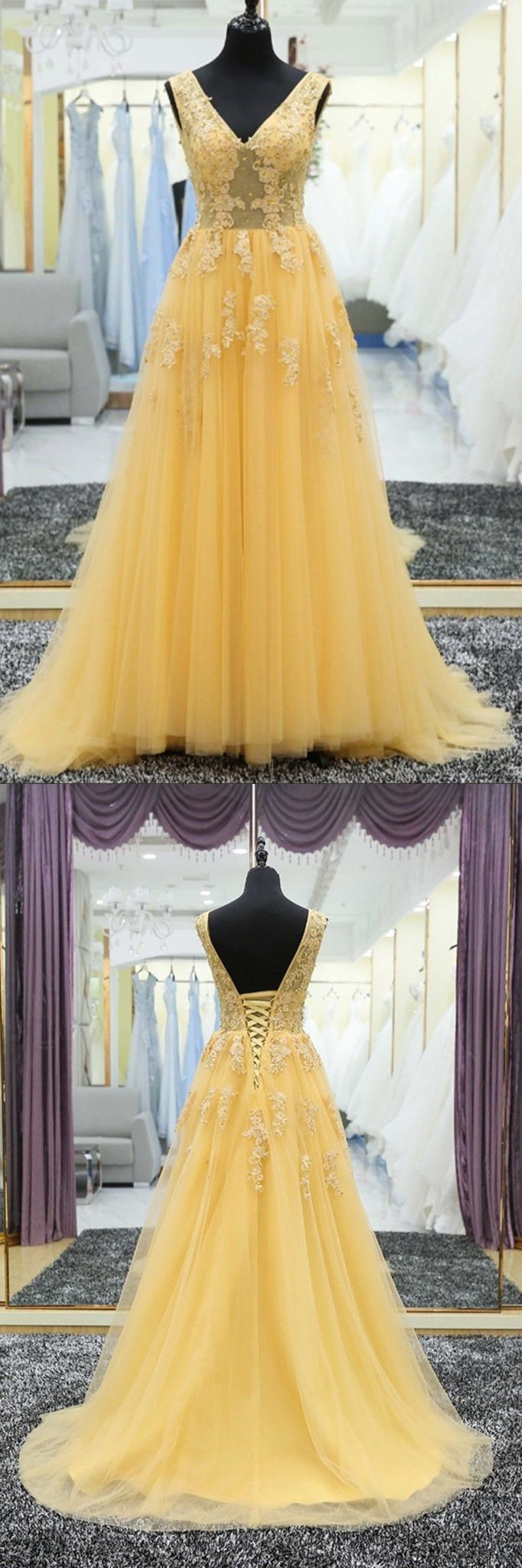 Yellow tulle tulle lace applique vneck long prom dress evening