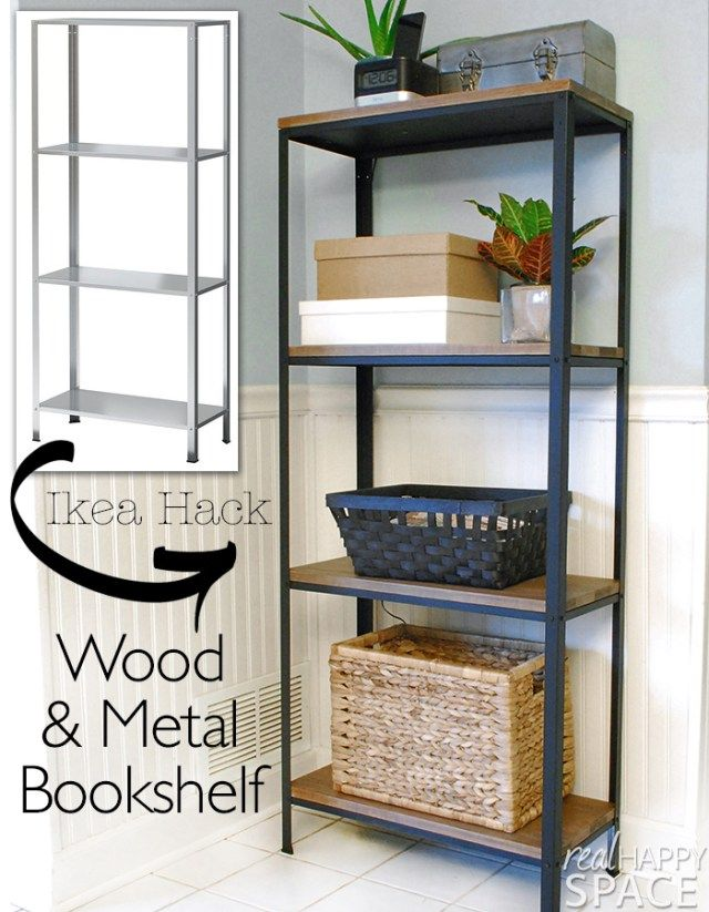 Ikea hack wood and metal bookshelf estanter as dise o - Muebles estanterias ikea ...
