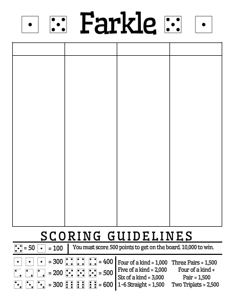 This Farkle Score Sheet Has Room To Record Your Scores While