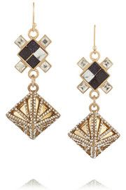 Terraced gold-plated, howlite and crystal earrings lulu frost $175