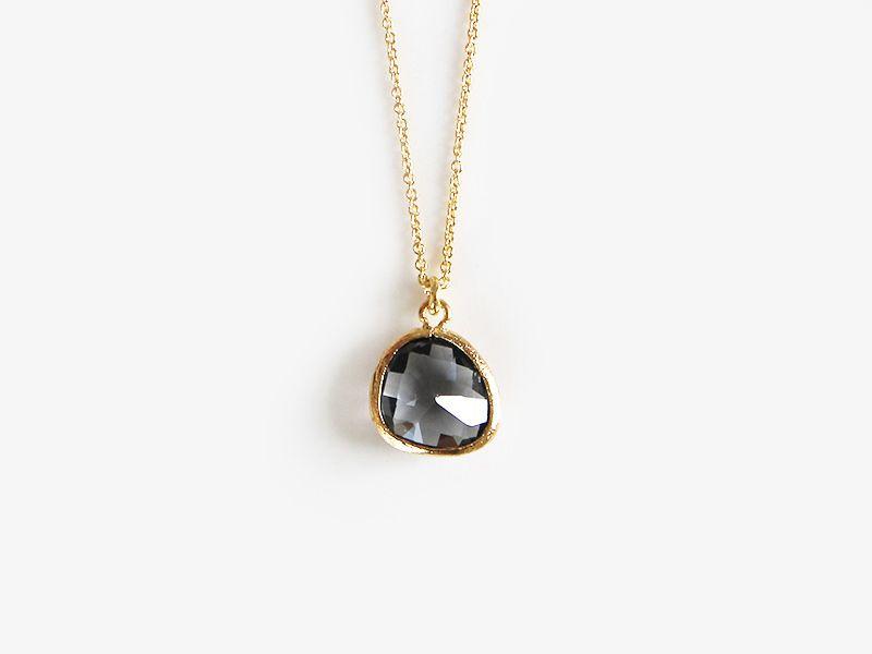 Halskette 925 vergoldet Dunkelgrau