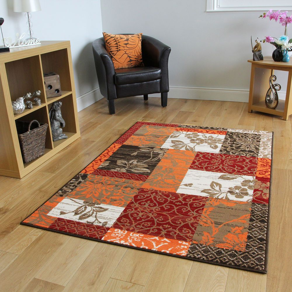 New Warm Red Orange Modern Patchwork Rugs Small Large Living Room Carpet  Rugs In Home,