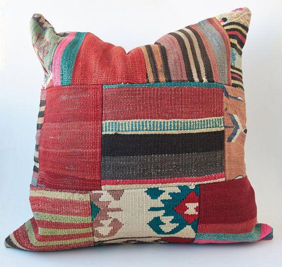 Vintage Turkish Kilim Pillow Cushion 24 X 24 by TurkishCraftsArts, $101.00