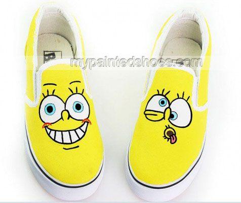 Low SpongeBob SquarePants Hand Painted Canvas Shoes,Low top