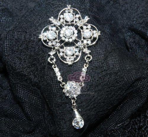 Rhinestone Crystalcross Pendant Dangle Silver Brooch Pin | eBay