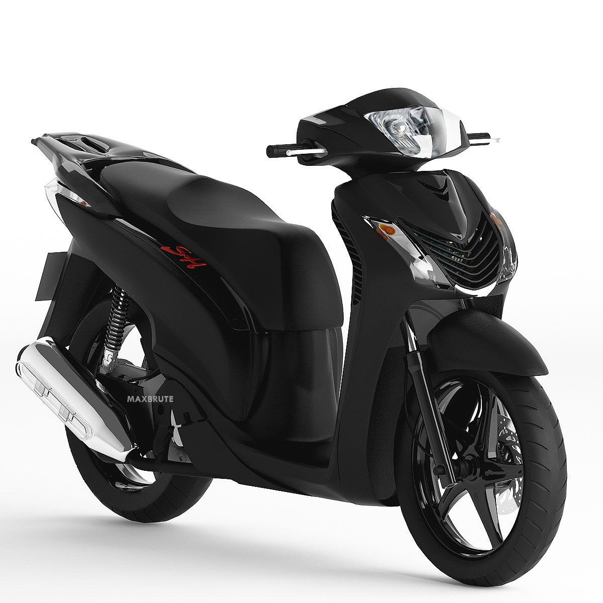 Motorcycle Xe May 3dsmax Sketchup Sh 150i Black đen Mờ Maxbrute Motorcycle Black Vehicles