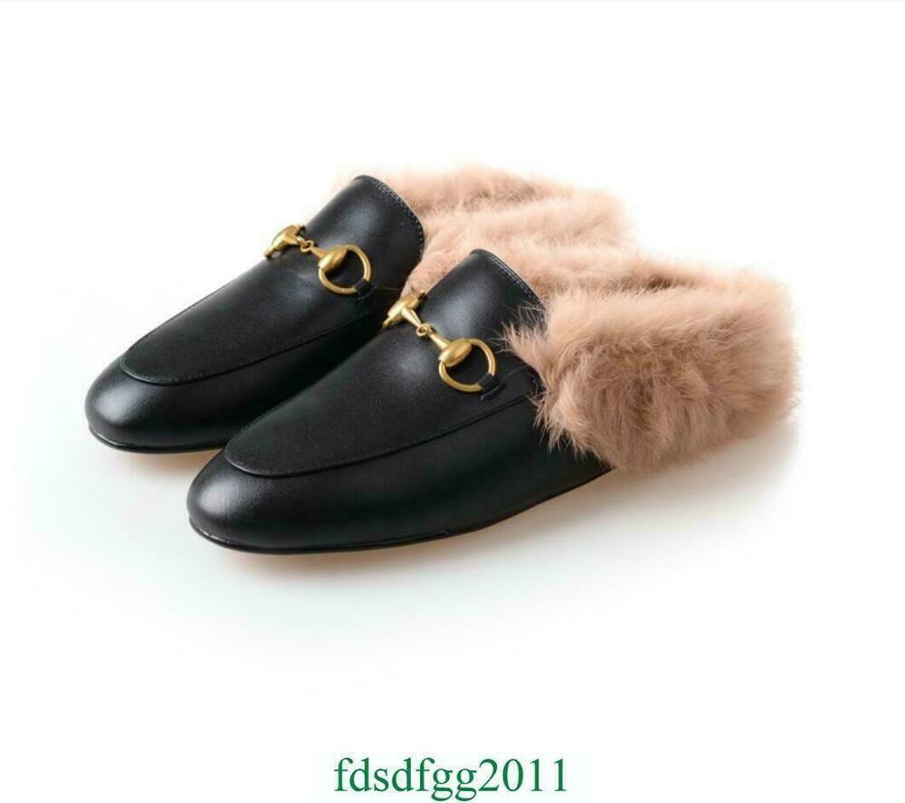 UK Women Princetown Horsebit Slippers Slides Flats Mules Loafers Black