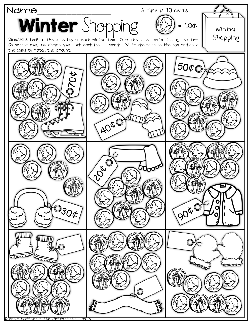 Color the coins needed to buy each item! Fun way to ...