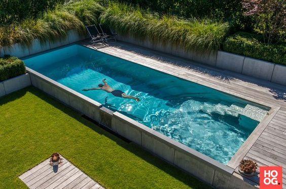 Creative backyard blue pool