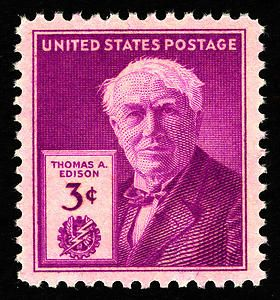 The Thomas A. Edison Issue was released to mark the 100th anniversary of his birth. A total 156,540,510 stamps were issued by the Post Office Department for this issue.