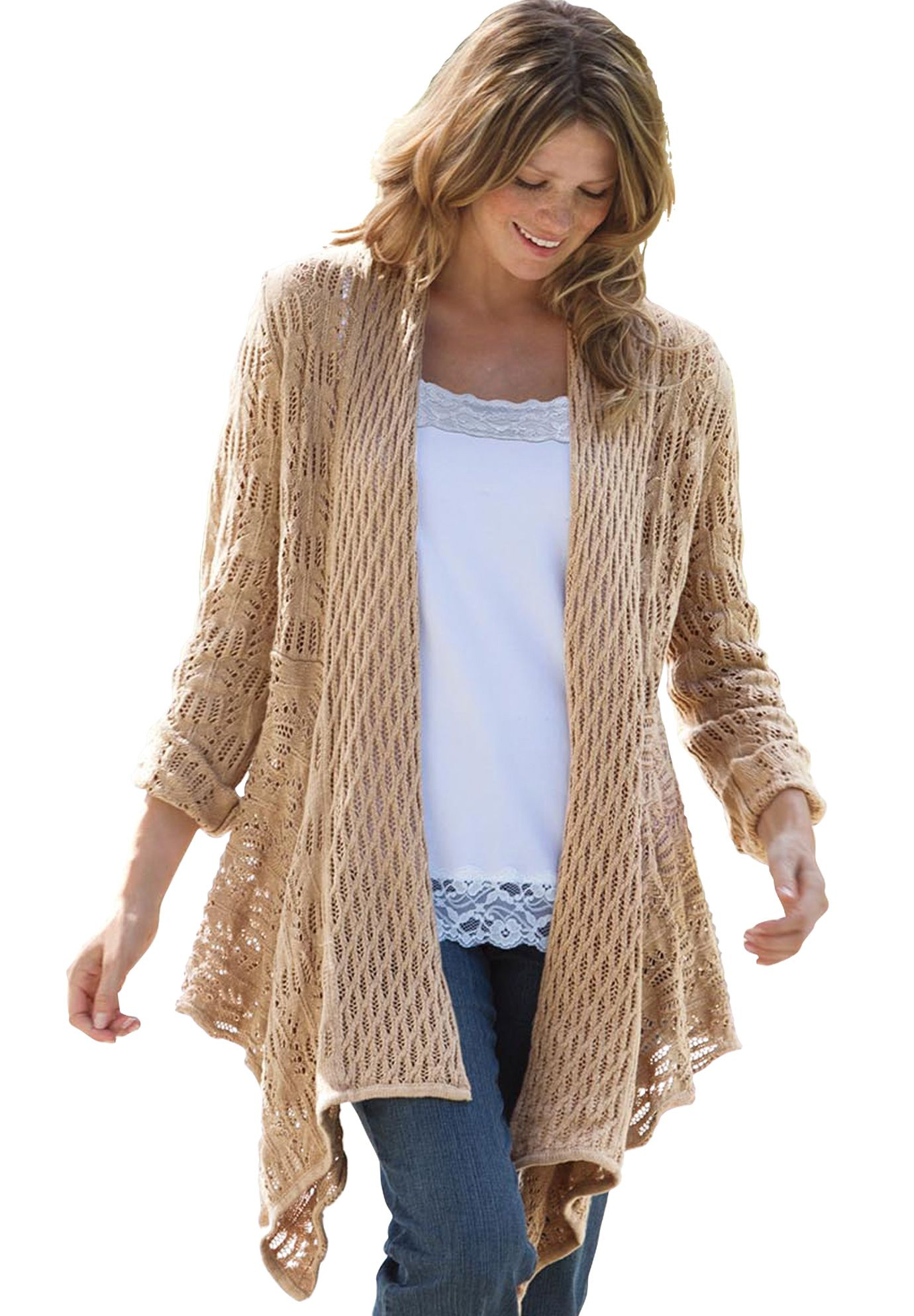 Sweater, open front cardigan | Plus Size Sweaters | Woman Within ...