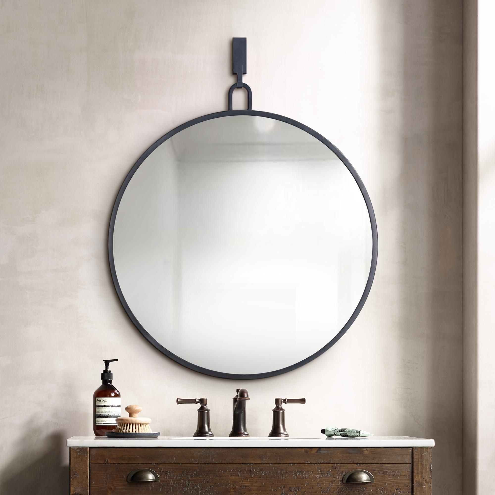 Mirrors Varaluz Casa Eli Black 30 X 32 Round Stopwatch Wall Mirror In 2020 Round Mirror Bathroom Black Bathroom Mirrors Mirror Wall