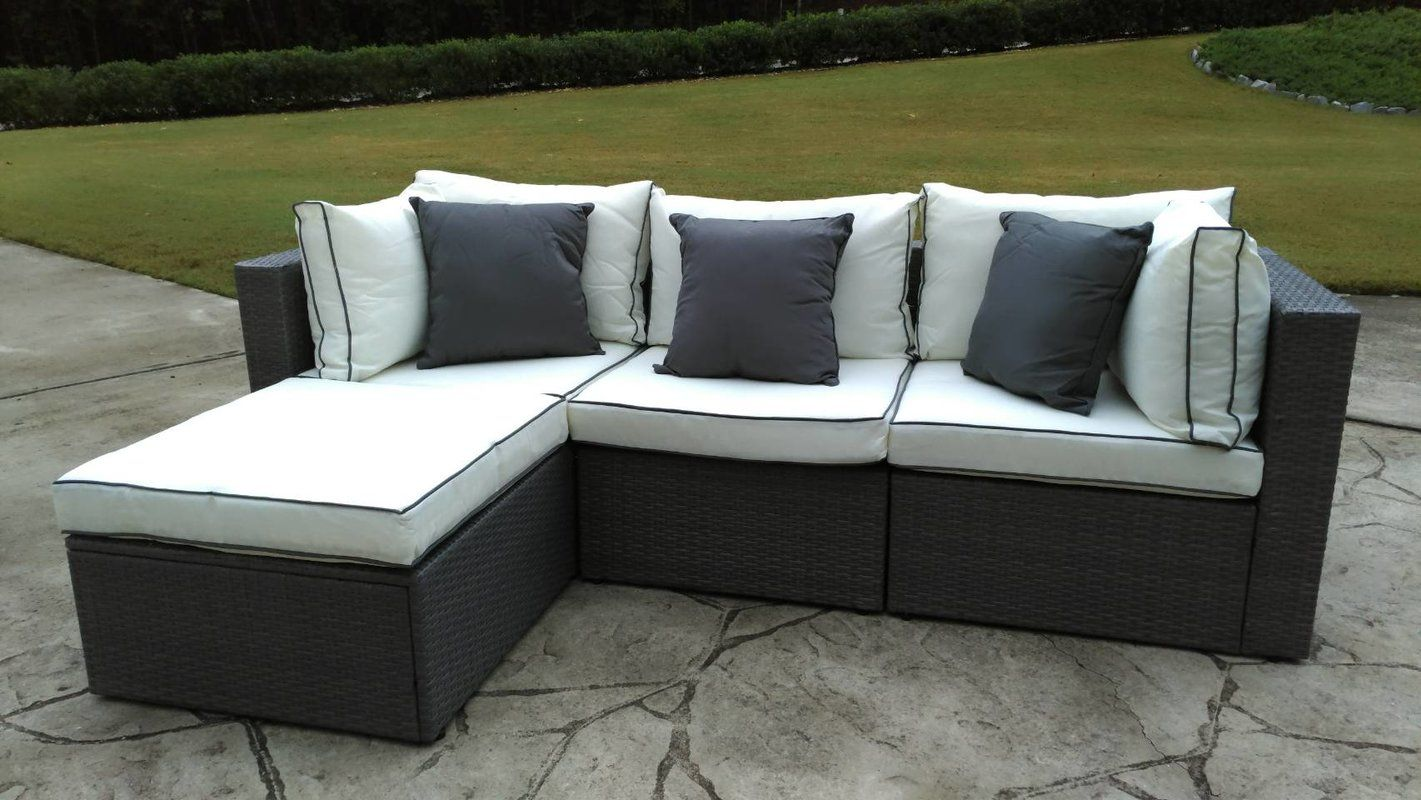 Three Posts Burruss Patio Sectional With Cushions THPS2859 Fabric: Off-White Gray