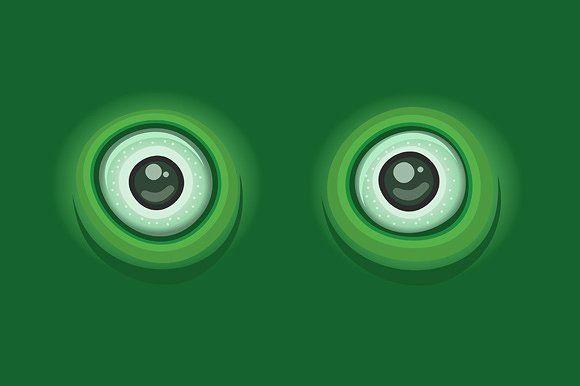 Cartoon Eyes on Green Background  @creativework247