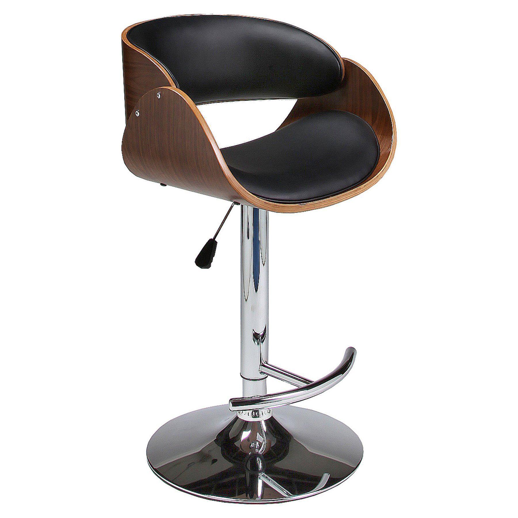 hydraulic bar stools. Impacterra Kaffina Hydraulic Bar Stool - Walnut Veneer / Chrome QLKF21927997969 Stools O