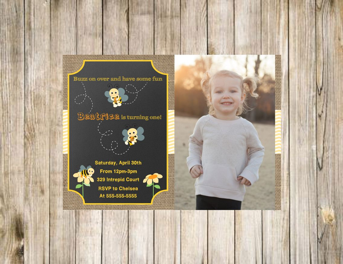 Bumble bee first birthday photo invitation with burlap