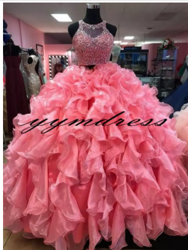 Two Pieces Quinceanera Dresses 2018 Modest Beads Crystals Masquerade Ball Gown Prom Dress Sweet 16 Girls Birthday Party Ruffles #masqueradeballgowns Two Pieces Quinceanera Dresses 2018 Modest Beads Crystals Masquerade Ball Gown Prom Dress Sweet 16 Girls Birthday Party Ruffles #masqueradeballgowns