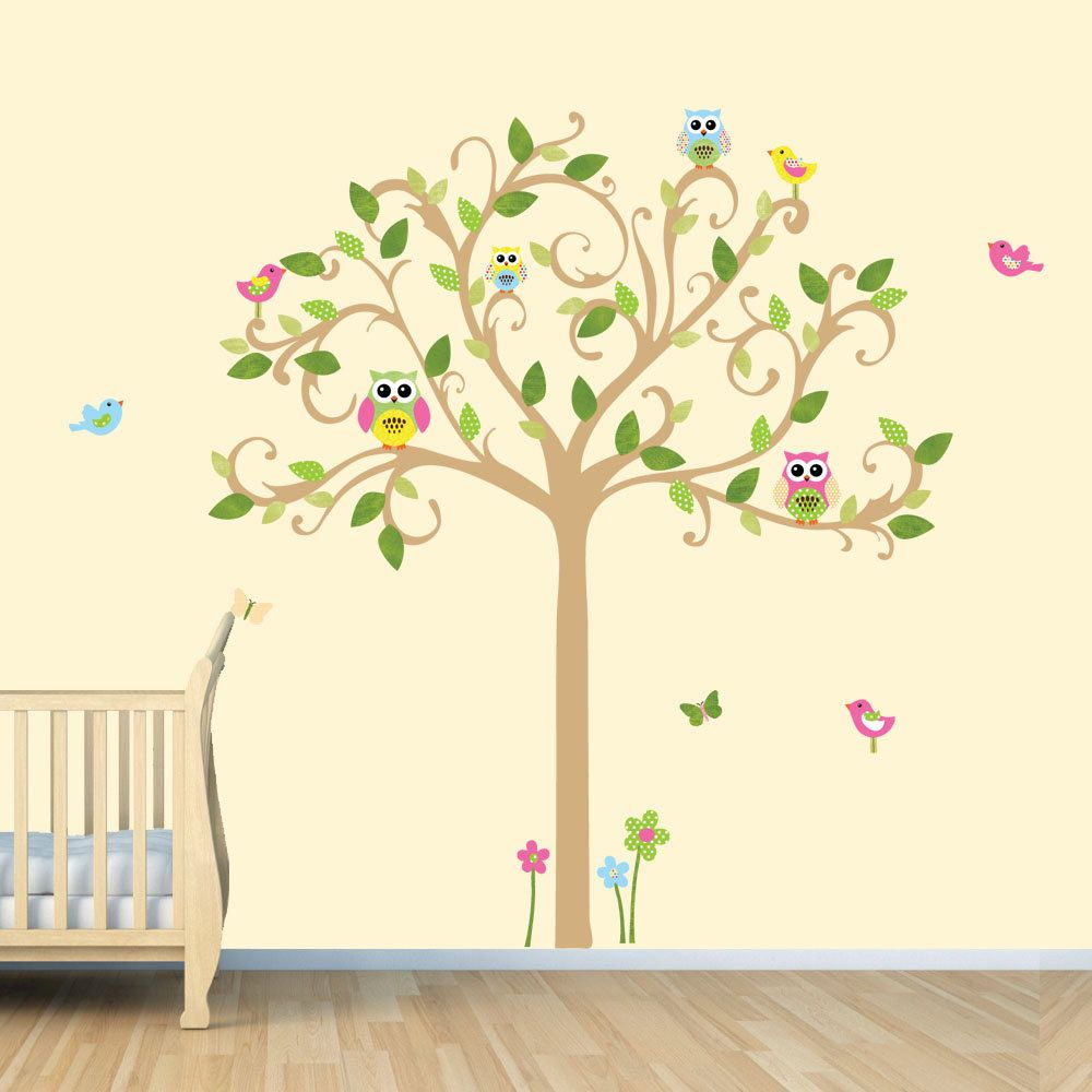 Owl Decal Vinyl Wall Decal Owl Tree Wall Decal by vinylartforwalls ...
