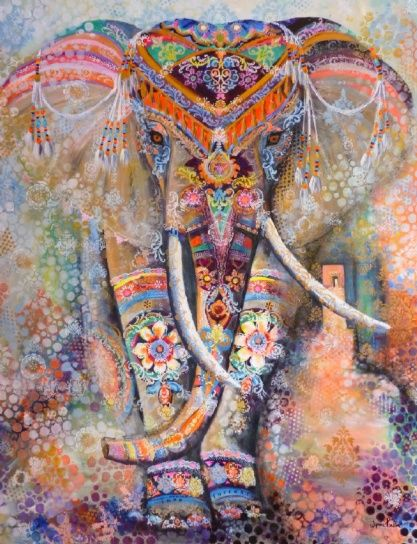 Elephant Painting Indian Painted Wynne Parkin Wynesca