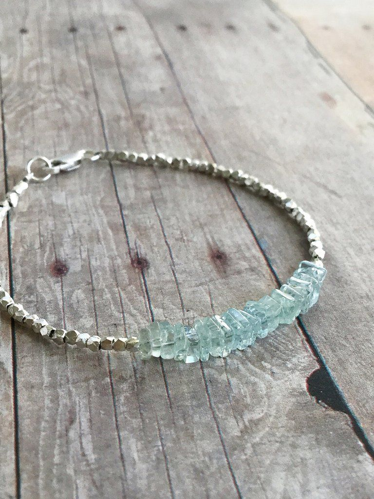 Photo of Aquamarine Gemstone Bracelet | March Birthstone Gift | Hill Tribe Silver Bead Jewelry
