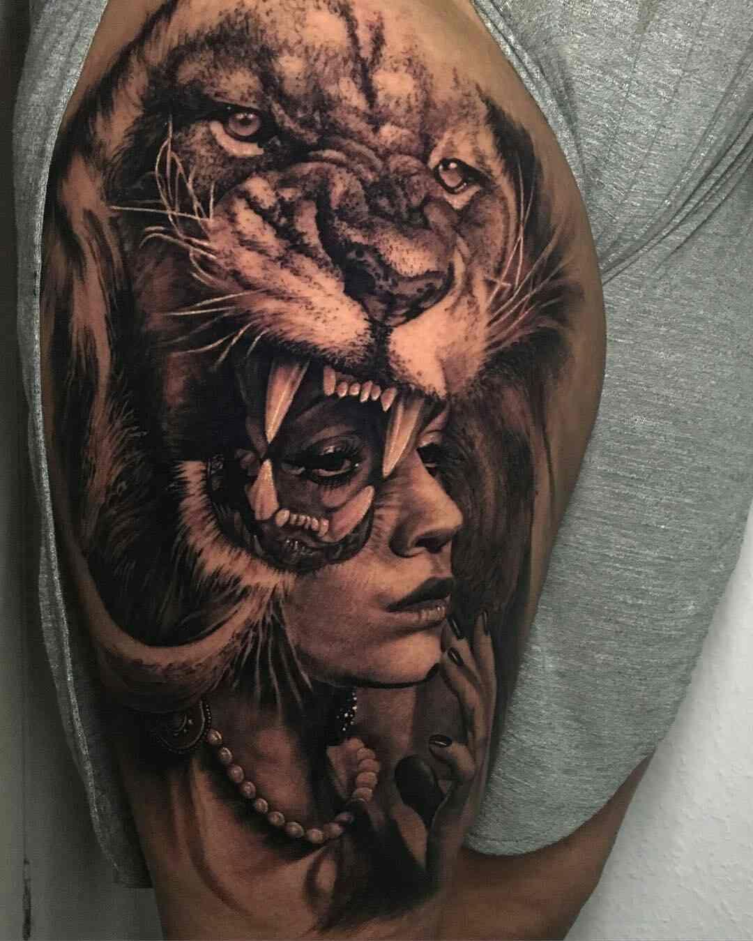 Matt Jordan Tatuaje Leon Y Cara De Mujer Muslo Tatuajes Leones
