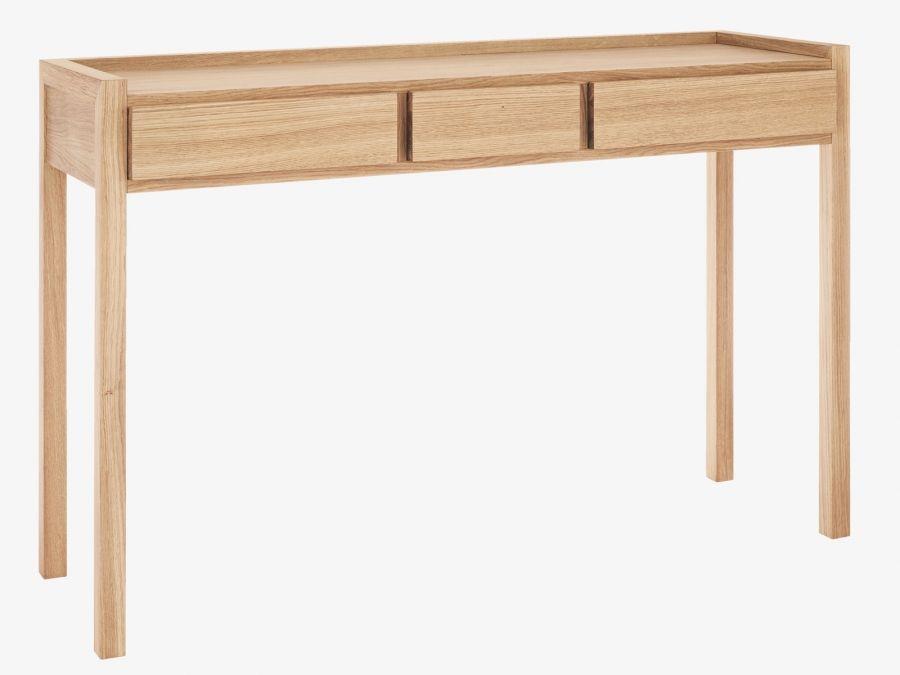 Hana Ii Oiled Oak Console Table With 3 Drawers Mobilier De Salon Bureau
