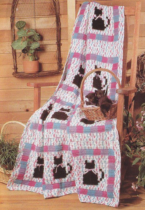 Cat Quilt Afghan Crochet Pattern | Cobija, Manta y Gato