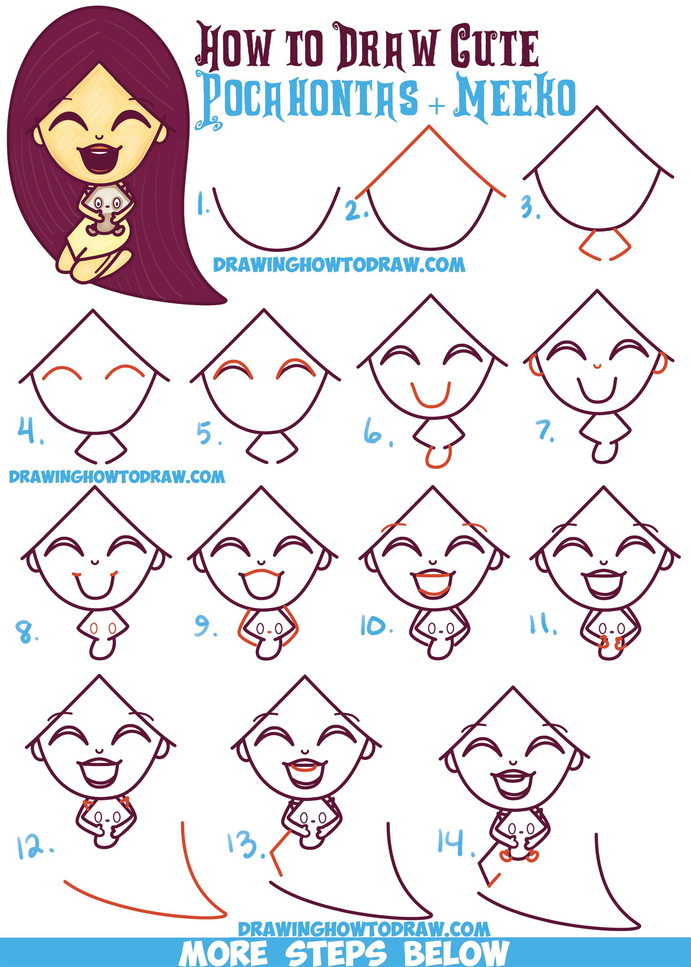 How To Draw A Cute Kawaii / Chibi Pocahontas And Meeko
