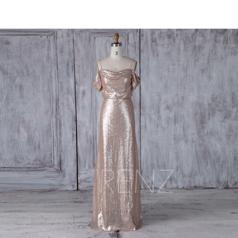 Tan Sequin Bridesmaid Dress, Off White Wedding Dress, Draped Neck ...