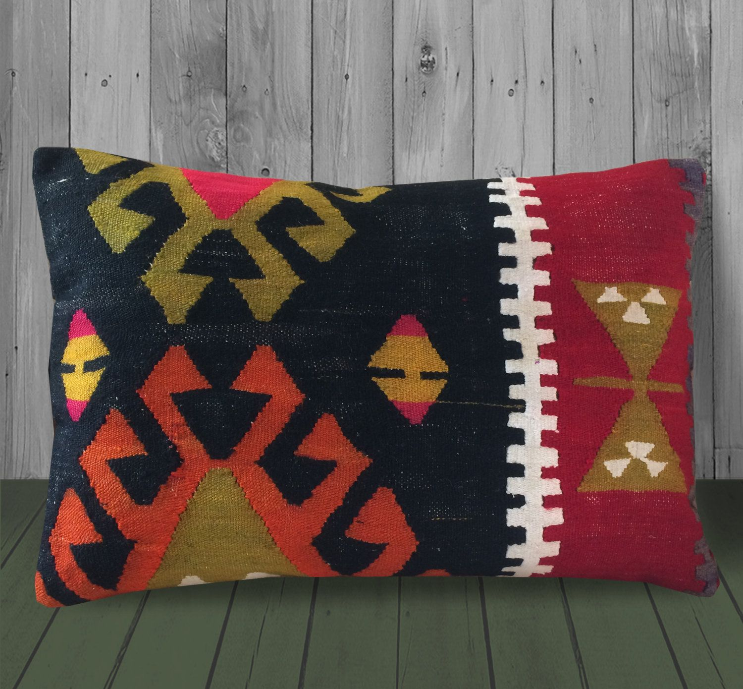 Red Black Orange Turkey Kilim Pillow 16x24 Boho Decor