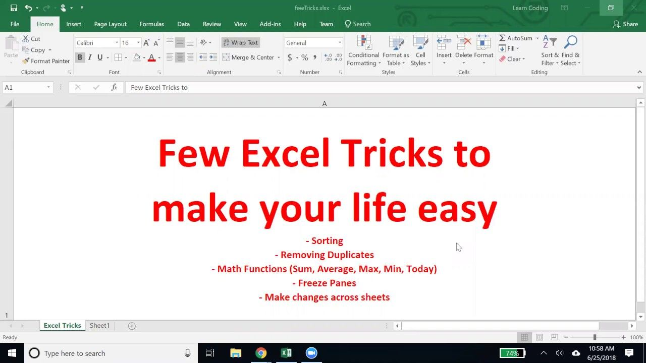 Few Excel Tricks to make your life easy (sorting, remove
