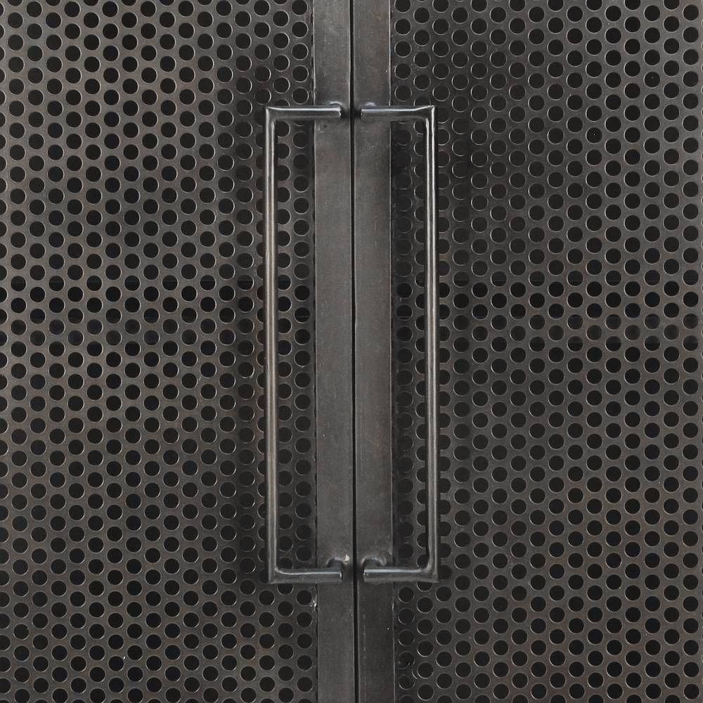 83.75 inches high x 36.5 inches wide x 20 inches deep. Constructed from metal. Finished in antiqued bronze. 2 doors; 3 fixed shelves. This item is made to order.