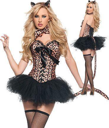 Sexy 4pc Leopard Print Cat Corset Tutu Fancy Dress Burlesque Outfit 5125  sc 1 st  Pinterest & Sexy 4pc Leopard Print Cat Corset Tutu Fancy Dress Burlesque Outfit ...