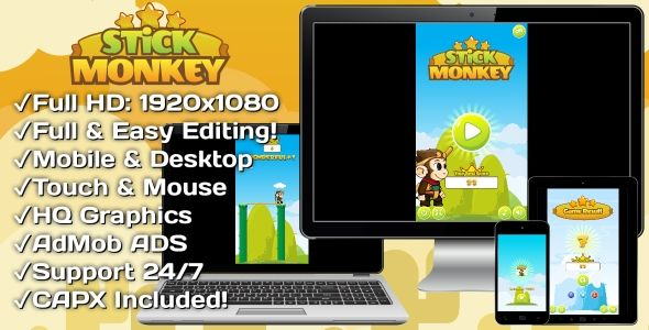 Stick Monkey - HTML5 Game + Mobile Version! (Construct 3