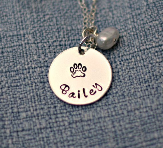 Hand Stamped Pet Necklace Personalized Dog by 3LittlePixiesShoppe, $33.00