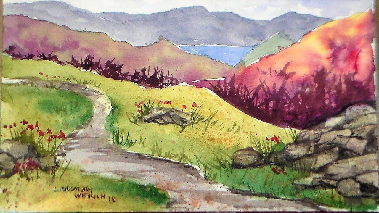 Beginner Mountain Landscape In Watercolor Limited Palette