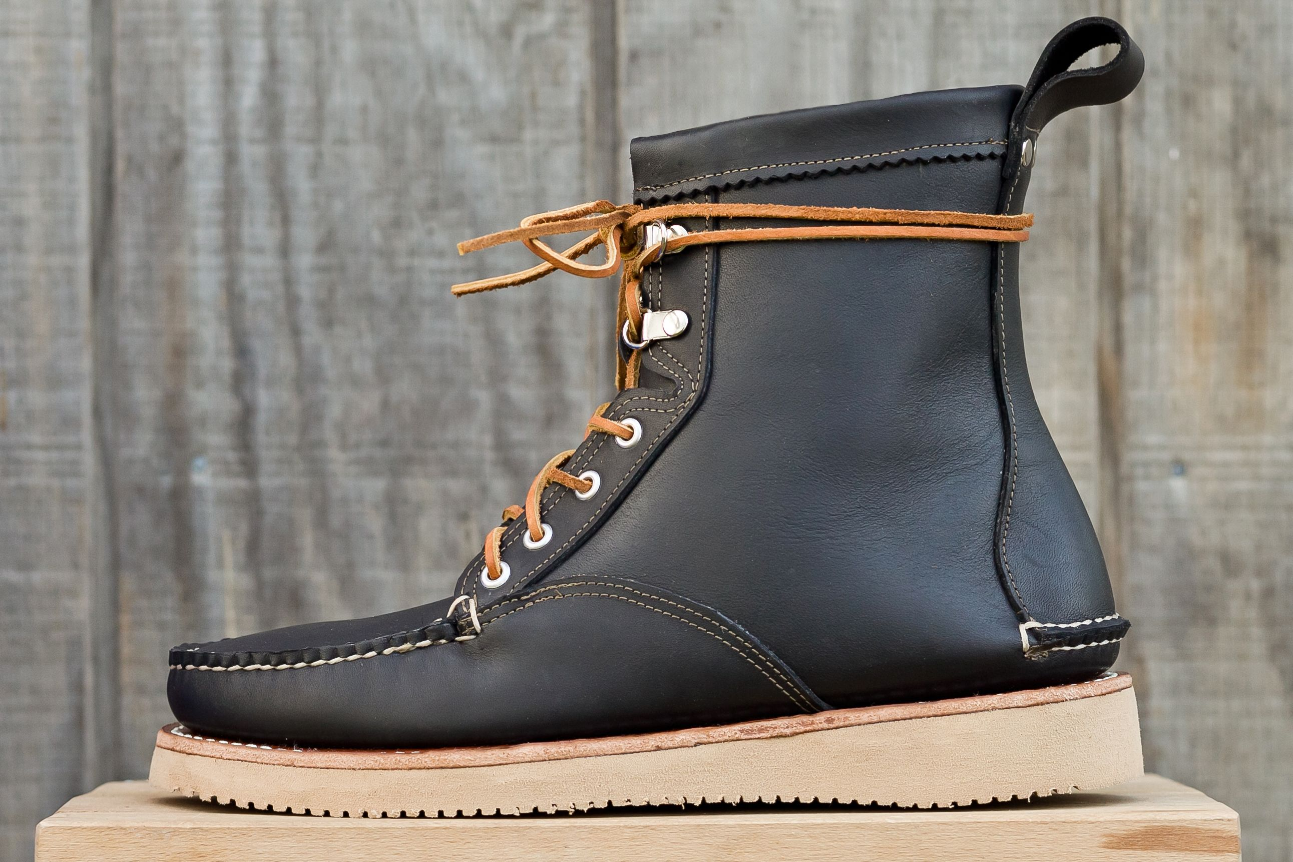 Horween Black Chromexel Fieldsmen boot, with Vibram 2021 Outsole. F/W 2012.