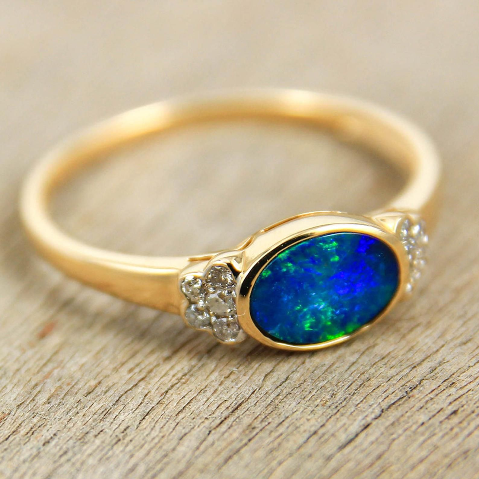 Exceptional Natural Black Australian Opal Ring, Genuine