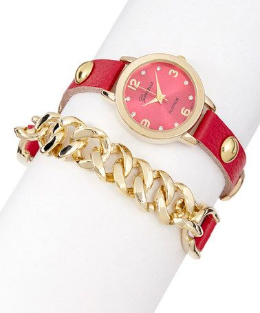Look what I found on #zulily! Hot Pink & Gold Chain Leather Wrap Watch #zulilyfinds
