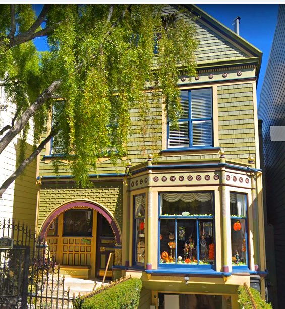 Beautiful Victorian Era Painted Lady House In San Francisco California Featuring A Charming Contrasting Gre Gable Roof Design Painted Lady House Roof Design