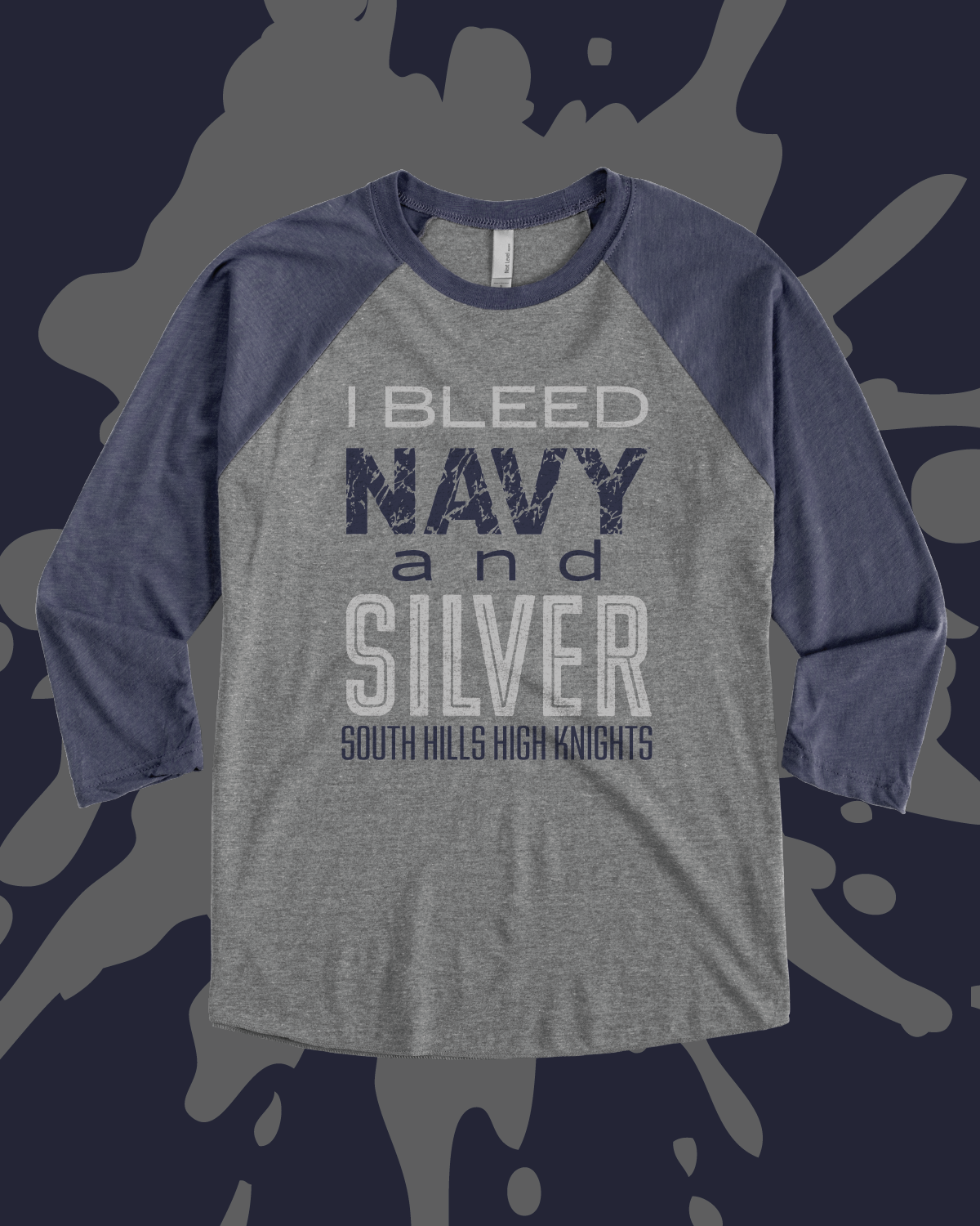 2ce5278728d73 I Bleed Navy and Silver - design idea for custom raglan shirt ...