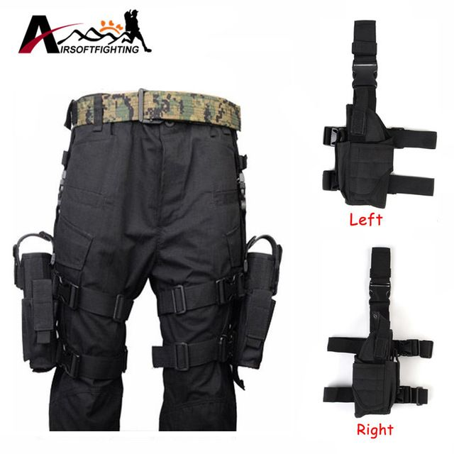 Adjustable Tactical Pistol//Gun Drop Leg Thigh Holster Mag Pouch Right+Left Hand
